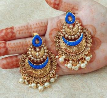 Lalso Designer Blue Kundan Pearl Drops Earrings - LKE07_BL