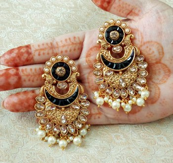 Lalso Designer Black Kundan Pearl Drops Earrings - LKE08_BK