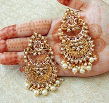 Lalso Designer Golden Kundan Pearl Drops Earrings - LKE10_LCT