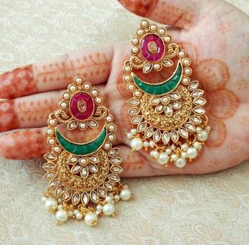 Lalso Designer Multicolor Kundan Pearl Drops Earrings - LKE10_MG