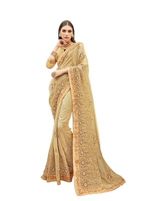 Beige woven satin saree with blouse
