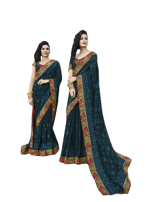 Blue embroidered chiffon saree with blouse
