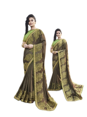 Dark brown embroidered georgette saree with blouse