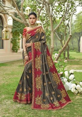 Dark grey embroidered art silk saree with blouse