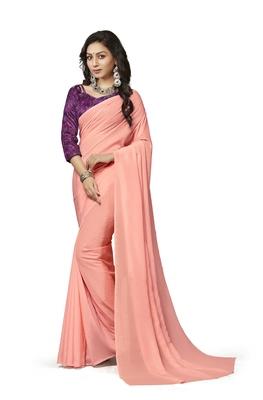 Dark peach printed crepe saree with blouse