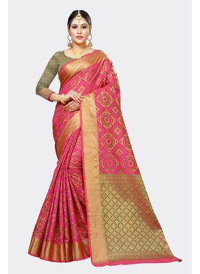 Dark pink woven art silk saree with blouse