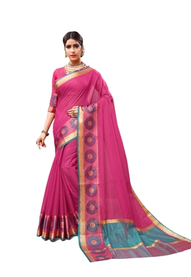 Dark pink woven cotton silk saree with blouse