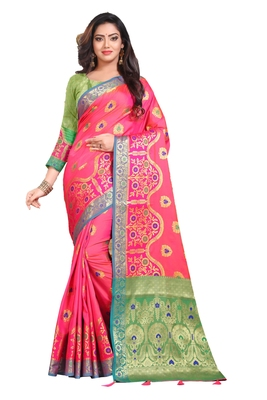 Dark pink woven silk saree with blouse