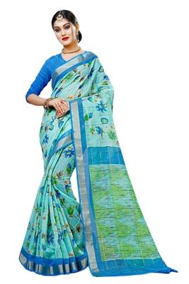 Light blue printed cotton silk saree with blouse