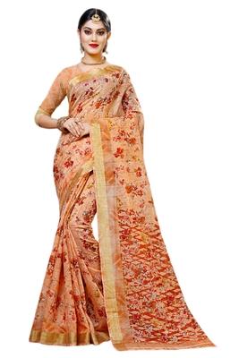 Light brown printed cotton silk saree with blouse