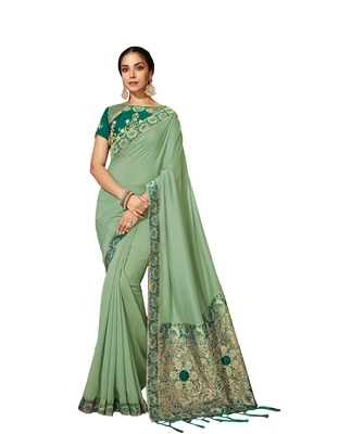 Light green embroidered silk blend saree with blouse