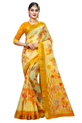 Light yellow printed cotton silk saree with blouse