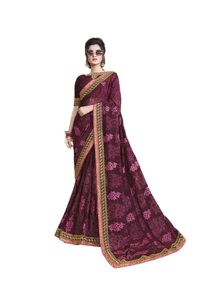 Magenta embroidered chiffon saree with blouse