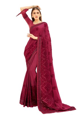 Magenta woven georgette saree with blouse