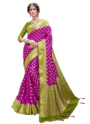 Magenta woven art silk saree with blouse