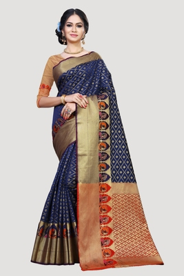 Navy blue woven art silk saree with blouse