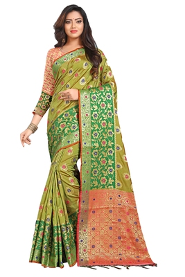 Olive woven silk saree with blouse