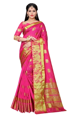 Rani pink woven cotton silk saree with blouse