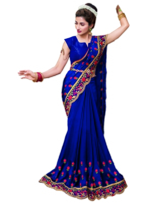 Royal blue embroidered satin saree with blouse