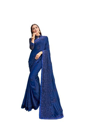Royal blue woven satin saree with blouse