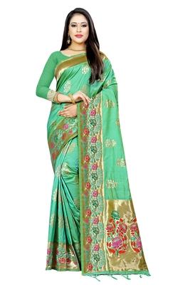 Sea green woven art silk saree with blouse