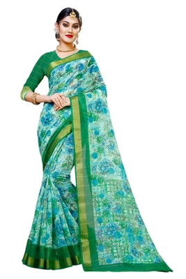 Sky blue printed cotton silk saree with blouse