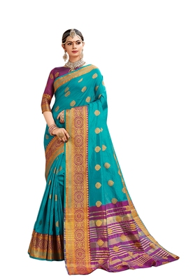 Sky blue woven cotton silk saree with blouse