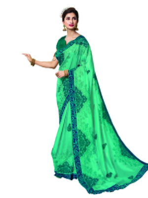 Turquoise embroidered satin saree with blouse