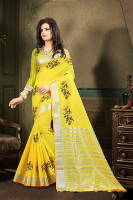 Yellow Color Pure Linen Saree with Running blouse