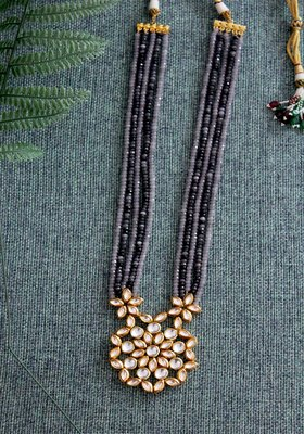 Gold Plated Kundan  Grey and Blue onyx Long Necklace