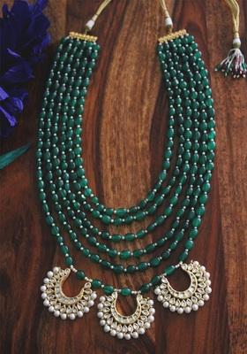 Gold Plated Kundan Chandbali Green Onyx And Shell Pearls Long Necklace