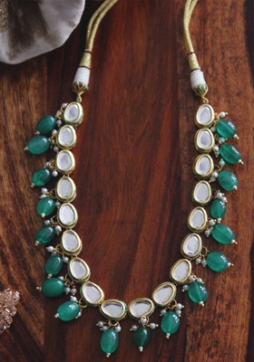 Gold Plated Kundan Green Onyx Shell Pearls Single String Necklace