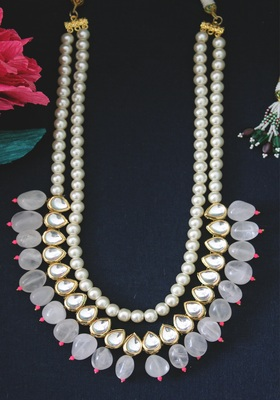 Gold Plated Kundan Pink Onyx And Shell Pearls Long Necklace