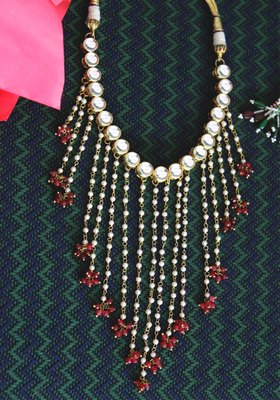 Gold Plated Kundan Pearl Tassel Red Onyx Necklace