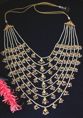 Gold Plated Kundan Shell Pearls Ranihaar Long Necklace
