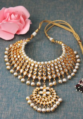 Gold Plated Shell Pearls Choker Necklace