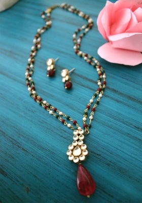 Gold Plated Pendant Multicolored Beads Long Necklace