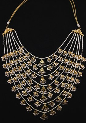 Gold Plated Kundan Shell Pearls Ranihaar Long Necklace