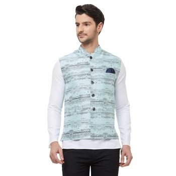 Blue printed cotton silk nehru-jacket