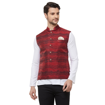 Red printed cotton silk nehru-jacket