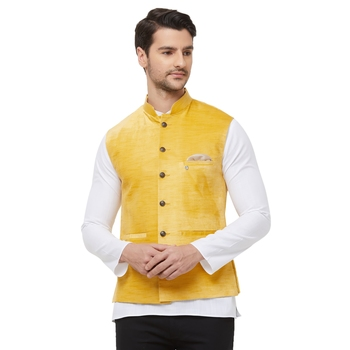 Yellow printed velvet nehru-jacket