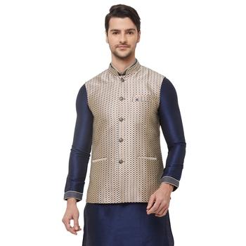 Gold printed jacquard nehru-jacket
