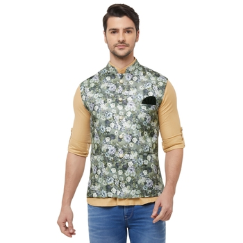 Green printed cotton silk nehru-jacket