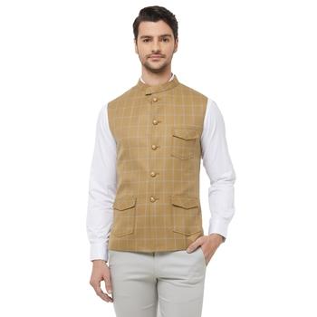Gold printed cotton nehru-jacket