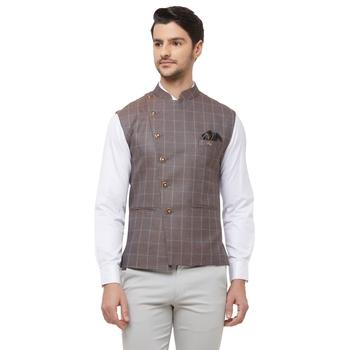 Brown printed cotton nehru-jacket