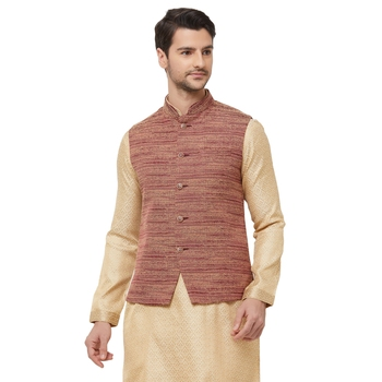 Brown printed jute nehru-jacket