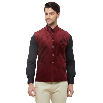 Red printed velvet nehru-jacket