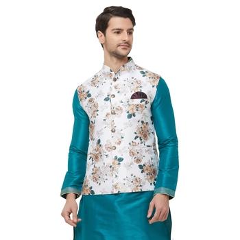 White printed cotton silk nehru-jacket