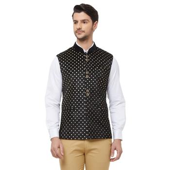 Black printed velvet nehru-jacket