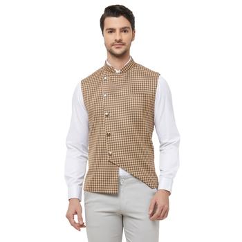 White printed cotton nehru-jacket